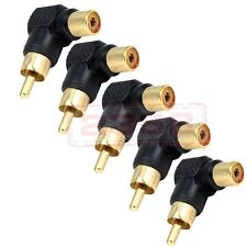 Lot 5 Right Angle Gold RCA Adapter Female to Male