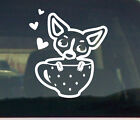 Sweet Chihuahua on coffee cup Vinyl Decal Graphic car window sticker Love dog
