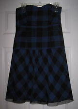 AMERICAN EAGLE BLUE BLACK PLAID CHECK MESH TRIM 10 DRESS EUC