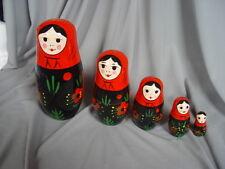 BABUSHKA WOODEN DOLL-  RED  & BLACK 5 dolls in 1
