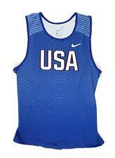 New Nike Team USA Digital Race Day Tight Tank Men's Large Blue 880462 $55 USATF