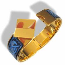 Hermes Blue Enamel/Gold Horses Clic Clac Bangle Bracelet Sz S, Box!