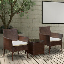 3Pcs Rattan Garden Furniture Sofa Chairs Table Set Conservatory Outdoor Brown US