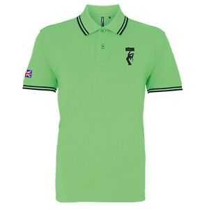 Men's Stax Records Tipped Polo Shirt With Embroidered Logo.Two-Tone, Mod, Ska
