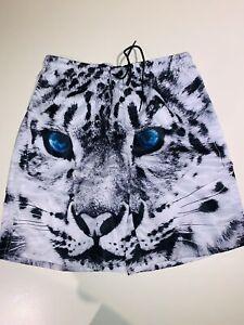 Men's Snow Leopard Bathing Suit / Board Shorts Size M
