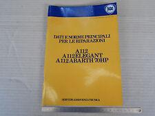 MANUALE ORIGINALE 1978 DATI RIPARAZIONE AUTOBIANCHI A112 ABARTH E NORMALI 112