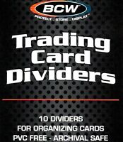 500 Trading Card Dividers for Boxes Sport Gaming Index Tab White Plastic BCW