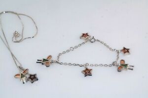 Childs Angel Star Plique Enamel Diamond Charm Sterling Silver Bracelet Necklace