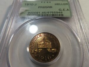 T4 German East Africa 1910-J Heller PCGS PROOF-65 Red Brown OGH VERY RARE