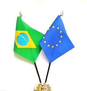 Brazil & European Union EU Double Friendship Table Flag Set