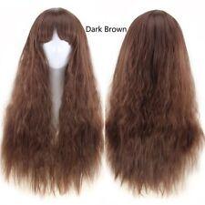 Black Hair Wig Wine Red Long Half Curly Heat Resistant Soft Hair