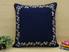 Home Navy Blue Pillow Cover Floral Embroidered Square Cotton Cushion Case
