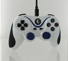 Wired gamepad controller for PS3 with extra long 3M cable - White Blue   ZedLabz