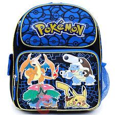 "Pokemon School Backpack 12"" Boys Book Bag Pikachu Ivysaur Charizard Blastoise"