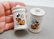"New listing Mickey Mouse Chef Ceramic Salt Pepper Shaker Set Vintage Japan Gold Trim 2 3/4"""