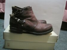 AS98 A.S. 98 Steve WINE Round Toe Buckle Detail Ankle Boot EUR 39 US 8.5 to 9