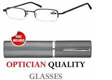 +1.00 1.0 SLIM POCKET RIMLESS Reading Glasses mens ladies + tube case + new Uk