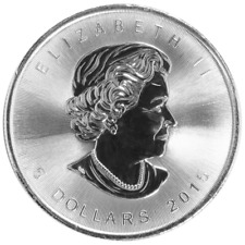 CANADA $5 Dollars 2015 (MAPLE LEAF) SILVER 1oz coin (.9999) NEW IN CAPSULE