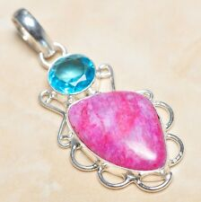 "Handmade Cherry Ruby Natural Gemstone 925 Sterling Silver Pendant 2.25"" #P04581"