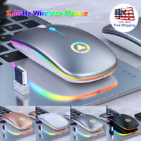 2.4GHz Wireless Optical Mouse For PC Laptop USB Rechargeable RGB Cordless Mice