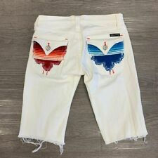 Miss Me Bermuda Shorts Size 25 Denim White Bermuda Raw Hem Embroider Flap Pocket