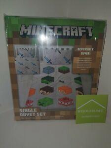 OFFICIAL MINECRAFT - Pixels Single Duvet Cover and Pillowcase Set - Kids Gamer
