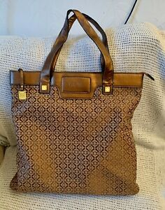 Large *LOEWE* Bronze Leather Monogram Fabric Work Tote Shoulder Bag