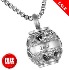Cremation Jewellery Memorial Urn Pendant Heart Dad Necklace Ashes Engraved NEW..