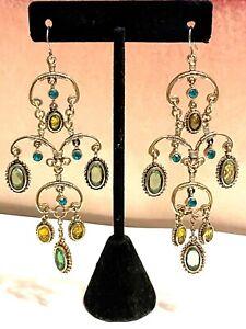 """Vintage Gold Tone Runway Crystal Chandelier Hook Earrings 3.5"""""""