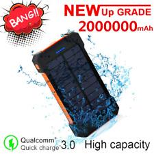 Portable Waterproof Solar Power Bank 2000000mAh Backup 2USB Battery Fast Charger