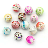 100 Candy Stripe Acrylic 8mm Beads Mixed Colours Jewellery Making J24738V