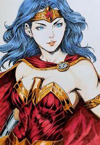 Fan art,original drawing ink,markers,superhero,Wonder Woman