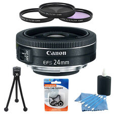 Canon EF-S 24mm f/2.8 STM Camera Lens Bundle w/ 3 Pc. 52mm Filter Kit + More
