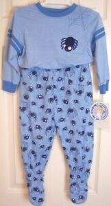 NWT Carter's Boy's Blue Spiders Snap-In Pajama Set with Built-In Feet, 24 Mos.