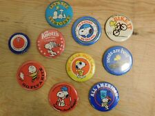 Lot of 10 Vintage Peanuts Snoopy Pinback Buttons
