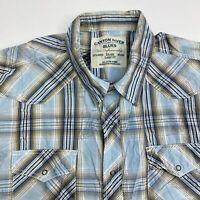 Canyon River Blues Snap Up Shirt Men's 2XL XXL Short Sleeve Plaid Classic Fit