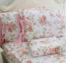 FADFAY Cotton Bed Sheet Set Rose Floral Bed Sheets 4-Piece Queen Size Pink 1