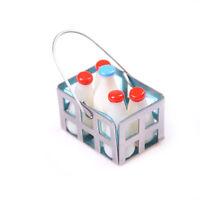 1/12Dollhouse Furniture Miniatures Metal Milk Baskets With 5pc Milk Bottle _ws