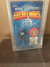 Vintage Mattel 1985  Secret Wars Black Spiderman AFA 70 Crystal Clear Bubble
