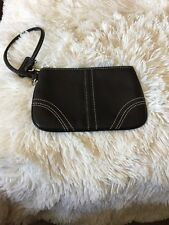 Coach Wristlet Black Leather Zipper Top Lobster Claw Strap EXC!!