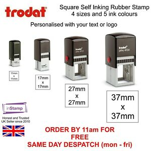 personalised square self inking rubber stamp your name logo loyalty company