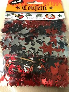 ROCK ON SKULL AND FLAMES CONFETTI Stars Guitars Skulls ~ Birthday Party Supplies