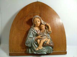 capezzale gesso MADONNA con bambino anni 40 policroma deco arte sacra
