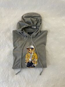 NWT Polo Ralph Lauren Men's Grey Heather CP-93 Bear Hooded Long Sleeve T-Shirt L