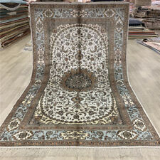 YILONG 5'x8' White Classic Silk Area Rug Oriental Hand Knotted Porch Carpet 393C