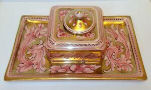 Vintage Porcelain INKWELL ITALY Pink Gold DESK Vanity Baroque Hollywood GLAM