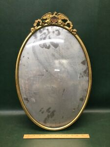 Large Antique Brass  Oval Picture Frame w/ American Eagle Flag & Convex Glass