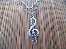 Collana Ciondolo Musica Nota Musicale Chiave di Violino color Acciaio Uomo Donna