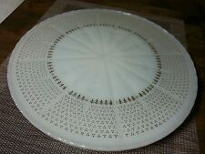 Vtg Anchor Hocking Milk Glass Cake Stand Gold Accents ,10 Inch Diameter Fireking