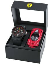 FERRARI Men's RedRev Black Silicone Strap Watch 44mm Gift Set